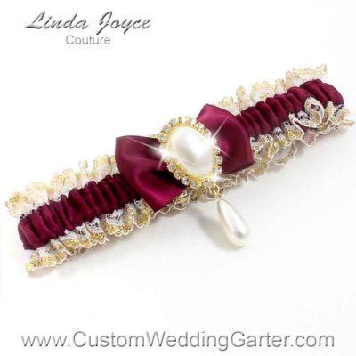 """Wine Victorian Lace Wedding Garter """"Victoria 04"""" Gold"""