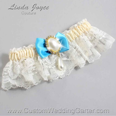 """Turquoise and Ivory Lace Wedding Garter """"Victoria 10"""" Gold"""