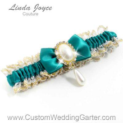 """Mallard Victorian Lace Wedding Garter """"Victoria 04"""" Gold"""