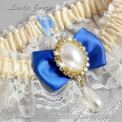 """Royal Blue and Ivory Lace Wedding Garter """"Victoria 10"""" Gold"""