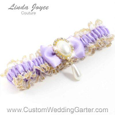 "Lavender Purple Victorian Lace Wedding Garter ""Victoria 04"" Gold"