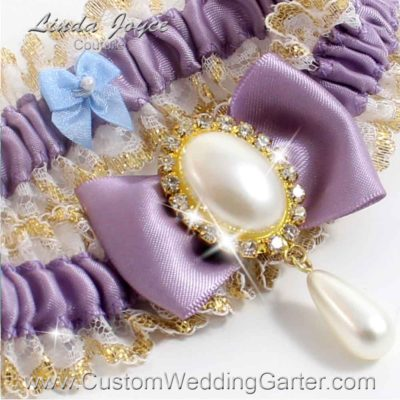 "Fresco Purple Victorian Lace Wedding Garter ""Victoria 04"" Gold"