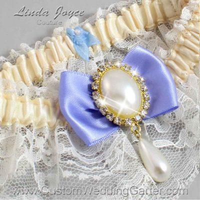 "Iris Purple and Ivory Lace Wedding Garter ""Victoria 10"" Gold"