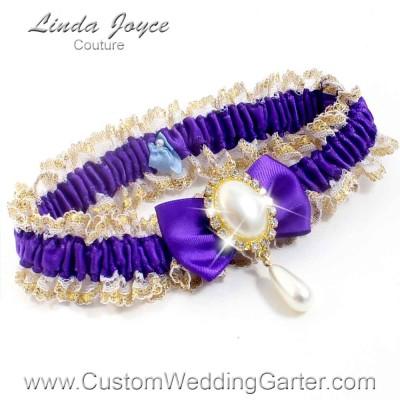"Eggplant Purple Victorian Lace Wedding Garter ""Victoria 04"" Gold"