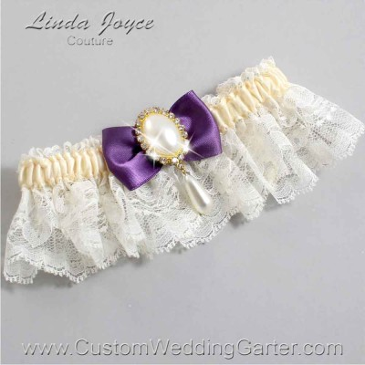 """Amethyst Purple and Ivory LACE WEDDING GARTER """"Victoria 10"""" Gold"""