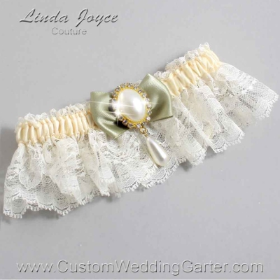 "Soft Pine and Ivory Lace Wedding Garter ""Victoria 10"" Gold"