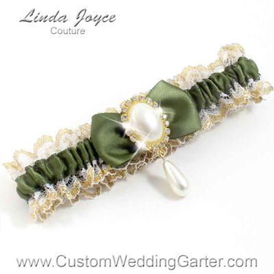 """Moss Green Victorian Lace Wedding Garter """"Victoria 04"""" Gold"""