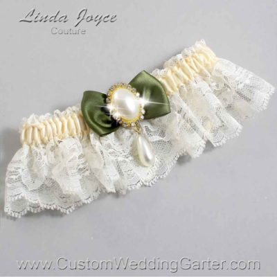 """Moss Green and Ivory Lace Wedding Garter """"Victoria 10"""" Gold"""