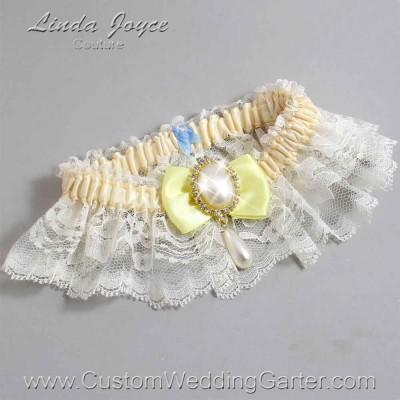 """Lemon Chiffon Yellow and Ivory Lace Wedding Garter """"Victoria 10"""" Gold"""