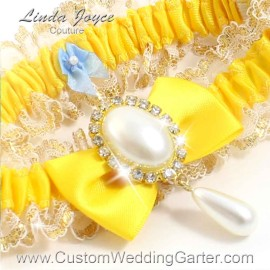 "Custom Wedding Garter: Sunglow Yellow Wedding Garter  ""Victoria 04"" Gold"