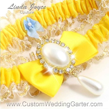 "Custom Wedding Garter: Sunglow Yellow Wedding Garter  ""Victoria 04"" Gold"