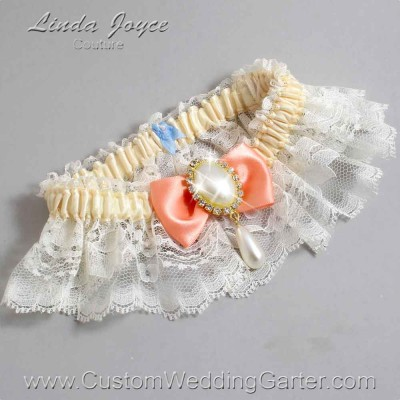 """Salmon and Ivory Lace Wedding Garter """"Victoria 10"""" Gold"""