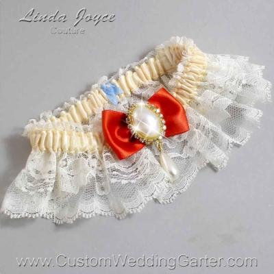 "Mandarin Orange and Ivory Lace Wedding Garter ""Victoria 10"" Gold"
