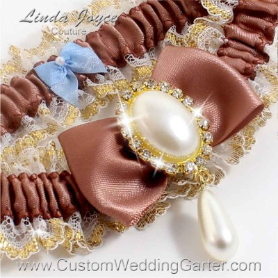 "Pecan Brown Victorian Lace Wedding Garter ""Victoria 04"" Gold"