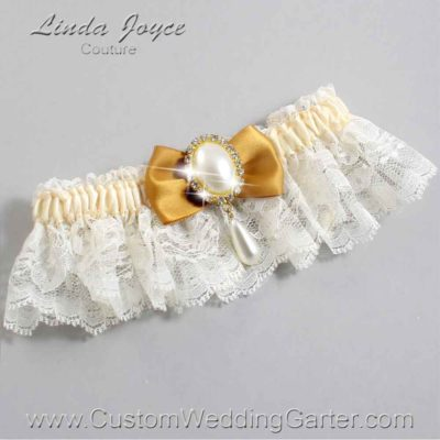 "Topaz and Ivory Lace Wedding Garter ""Victoria 10"" Gold"