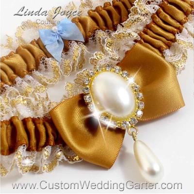 """Topaz Victorian Lace Wedding Garter """"Victoria 04"""" Gold"""