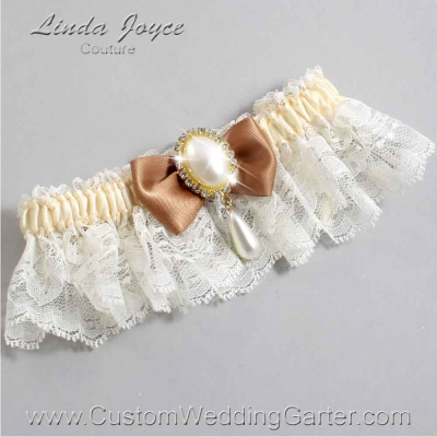 "Chipmunk Brown and Ivory Lace Wedding Garter ""Victoria 10"" Gold"