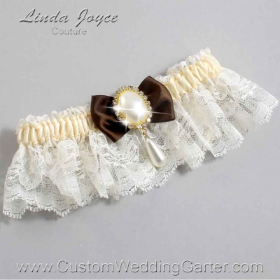 """Coffee Brown and Ivory Lace Wedding Garter """"Victoria 10"""" Gold"""
