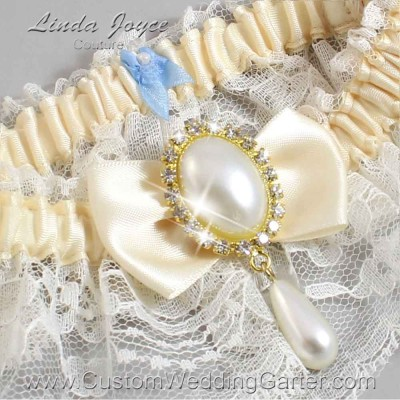 """Ivory and Ivory Lace Wedding Garter """"Victoria 10"""" Gold"""