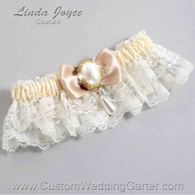 """Tan and Ivory Lace Wedding Garter """"Victoria 10"""" Gold"""