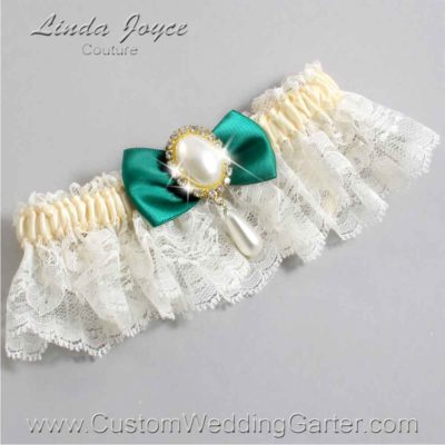 """Hunter Green and Ivory Lace Wedding Garter """"Victoria 10"""" Gold"""