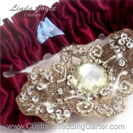 "Custom Wedding Garter: Wine Antique Jewel Beaded Wedding Garter ""Bijou 01 Antique"""