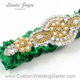 Custom Wedding Garter: Emerald Green and Gold Satin Beaded Pearl Wedding Garter  01 A05-Gold-Charlotte