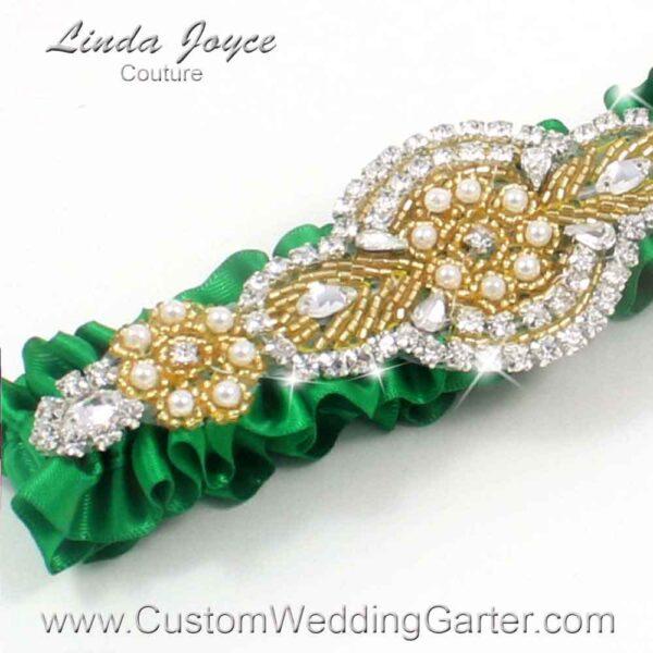 "Custom Wedding Garter: Emerald Green and Gold Satin Beaded Pearl Wedding Garter ""Charlotte 01"" Gold"