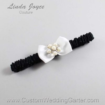 "000 Off White and Black Satin Bow Wedding Garter / Satin Bow Bridal Garter / Satin Bow Prom Garter ""DeeAnna-03-Silver"""