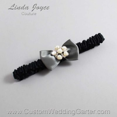 "017 Metal Gray and Black Satin Bow Wedding Garter / Satin Bow Bridal Garter / Satin Bow Prom Garter ""DeeAnna-03-Silver"""