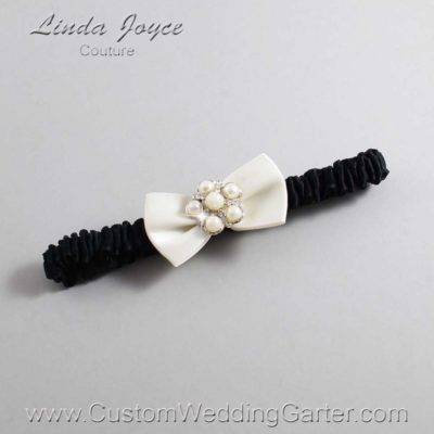 "028 Old-Lace and Black Satin Bow Wedding Garter / Satin Bow Bridal Garter / Satin Bow Prom Garter ""DeeAnna-03-Silver"""