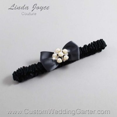 "077 Charcoal Gray and Black Satin Bow Wedding Garter / Satin Bow Bridal Garter / Satin Bow Prom Garter ""DeeAnna-03-Silver"""