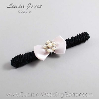 """105 Sideshow Rose and Black Satin Bow Wedding Garter / Satin Bow Bridal Garter / Satin Bow Prom Garter """"DeeAnna-03-Silver"""""""