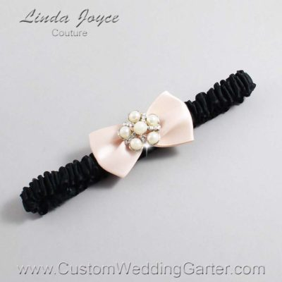 "113 Nude and Black Satin Bow Wedding Garter / Satin Bow Bridal Garter / Satin Bow Prom Garter ""DeeAnna-03-Silver"""