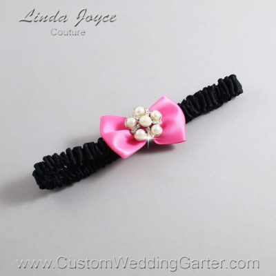 "142 Persian Pink and Black Satin Bow Wedding Garter / Satin Bow Bridal Garter / Satin Bow Prom Garter ""DeeAnna-03-Silver"""
