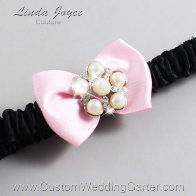 "145 Light Pink and Black Satin Bow Wedding Garter / Satin Bow Bridal Garter / Satin Bow Prom Garter ""DeeAnna-03-Silver"""
