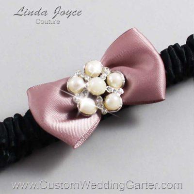 "146 Cameo Pink and Black Satin Bow Wedding Garter / Satin Bow Bridal Garter / Satin Bow Prom Garter ""DeeAnna-03-Silver"""