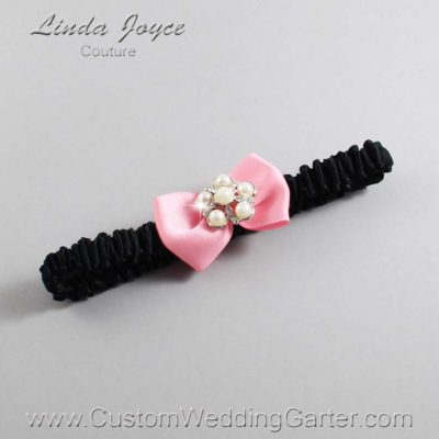 "151 Peony Pink and Black Satin Bow Wedding Garter / Satin Bow Bridal Garter / Satin Bow Prom Garter ""DeeAnna-03-Silver"""