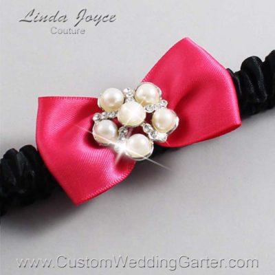 "157 Camellia Rose and Black Satin Bow Wedding Garter / Satin Bow Bridal Garter / Satin Bow Prom Garter ""DeeAnna-03-Silver"""