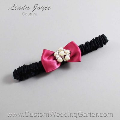 "169 Rosewood and Black Satin Bow Wedding Garter / Satin Bow Bridal Garter / Satin Bow Prom Garter ""DeeAnna-03-Silver"""
