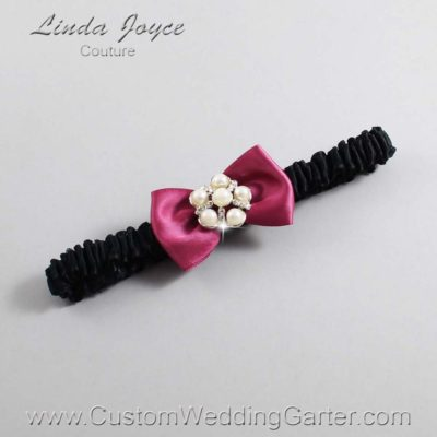 "174 Victorian Rose and Black Satin Bow Wedding Garter / Satin Bow Bridal Garter / Satin Bow Prom Garter ""DeeAnna-03-Silver"""