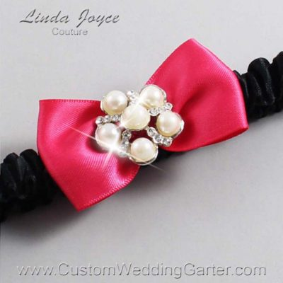 "175 Hot Magenta and Black Satin Bow Wedding Garter / Satin Bow Bridal Garter / Satin Bow Prom Garter ""DeeAnna-03-Silver"""