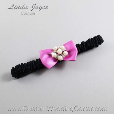 "182 Rose Bloom and Black Satin Bow Wedding Garter / Satin Bow Bridal Garter / Satin Bow Prom Garter ""DeeAnna-03-Silver"""