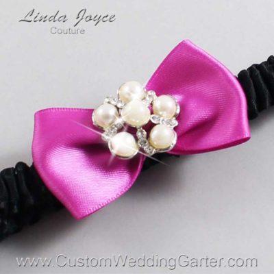 """183 Garden Rose and Black Satin Bow Wedding Garter / Satin Bow Bridal Garter / Satin Bow Prom Garter """"DeeAnna-03-Silver"""""""