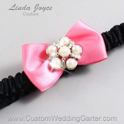 "210 Coral Rose and Black Satin Bow Wedding Garter / Satin Bow Bridal Garter / Satin Bow Prom Garter ""DeeAnna-03-Silver"""