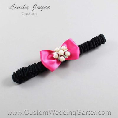 "233 Fuchsia and Black Satin Bow Wedding Garter / Satin Bow Bridal Garter / Satin Bow Prom Garter ""DeeAnna-03-Silver"""