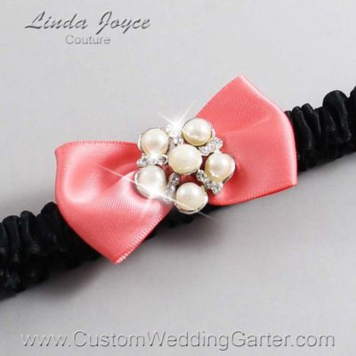 "238 Light Coral and Black Satin Bow Wedding Garter / Satin Bow Bridal Garter / Satin Bow Prom Garter ""DeeAnna-03-Silver"""