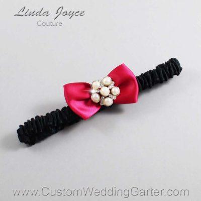 "266 Beauty and Black Satin Bow Wedding Garter / Satin Bow Bridal Garter / Satin Bow Prom Garter ""DeeAnna-03-Silver"""