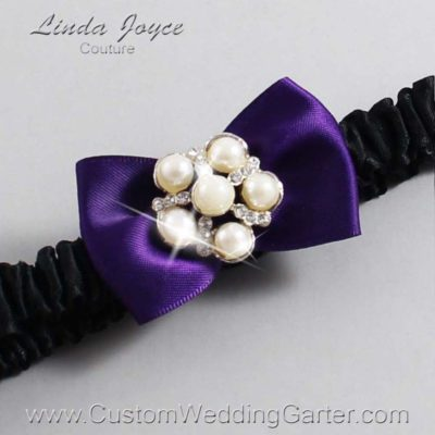 "285 Plum Purple and Black Satin Bow Wedding Garter / Satin Bow Bridal Garter / Satin Bow Prom Garter ""DeeAnna-03-Silver"""