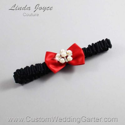"299 Red and Black Satin Bow Wedding Garter / Satin Bow Bridal Garter / Satin Bow Prom Garter ""DeeAnna-03-Silver"""